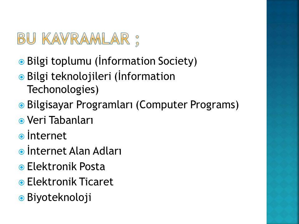  Bilgi toplumu (İnformation Society)  Bilgi teknolojileri (İnformation Techonologies)  Bilgisayar Programları (Computer Programs)  Veri Tabanları  İnternet  İnternet Alan Adları  Elektronik Posta  Elektronik Ticaret  Biyoteknoloji