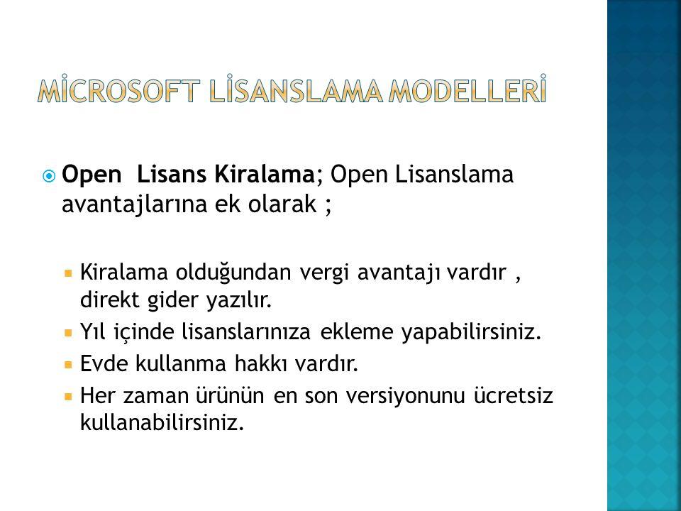  Open Lisans Kiralama; Open Lisanslama avantajlarına ek olarak ;  Kiralama olduğundan vergi avantajı vardır, direkt gider yazılır.