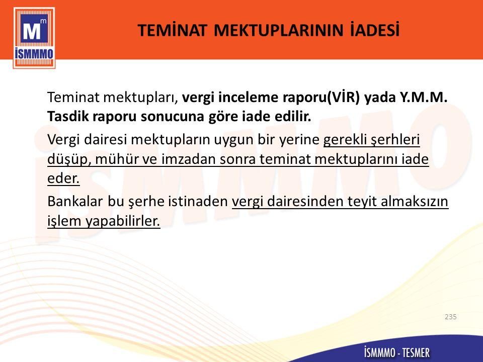 TEMİNAT MEKTUPLARININ İADESİ Teminat mektupları, vergi inceleme raporu(VİR) yada Y.M.M.