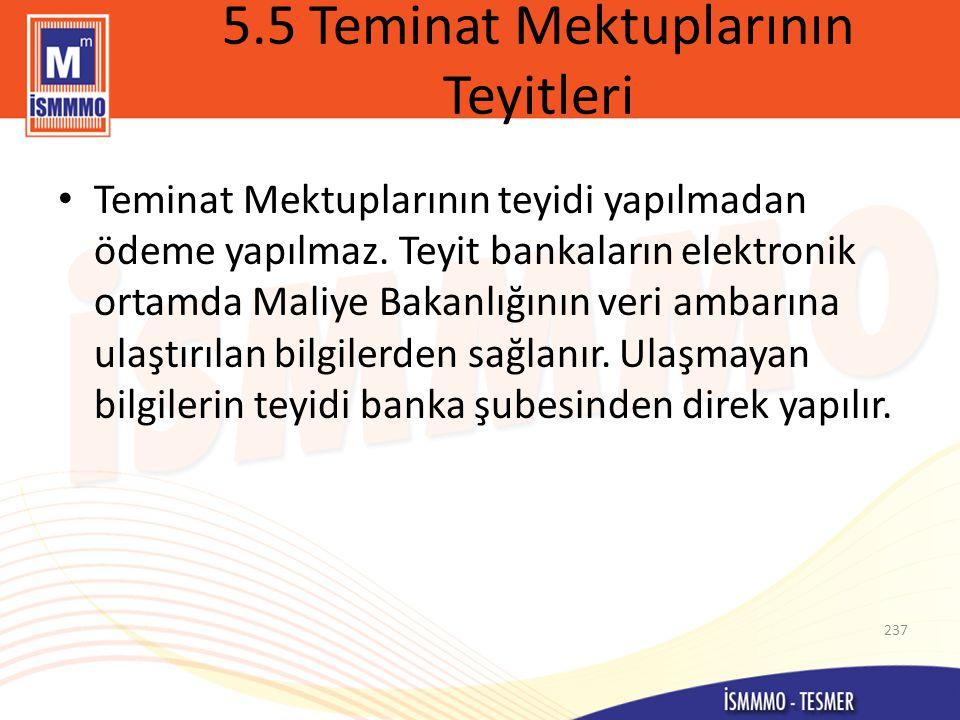5.5 Teminat Mektuplarının Teyitleri • Teminat Mektuplarının teyidi yapılmadan ödeme yapılmaz.