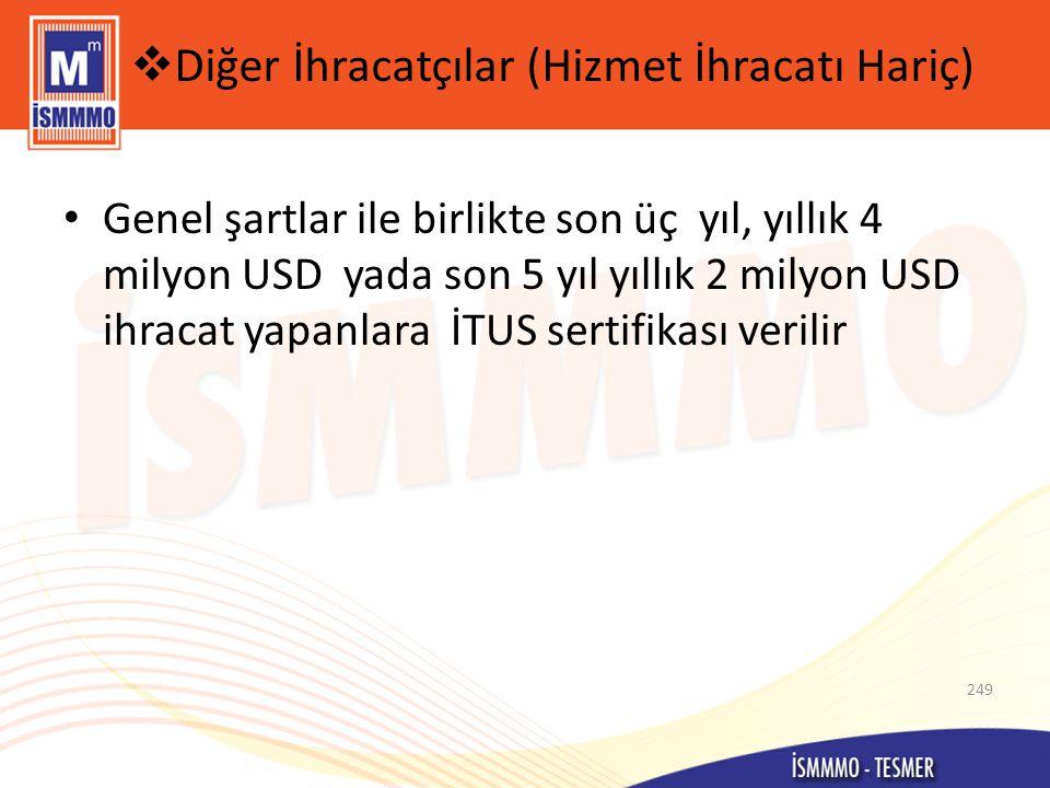  Diğer İhracatçılar (Hizmet İhracatı Hariç) • Genel şartlar ile birlikte son üç yıl, yıllık 4 milyon USD yada son 5 yıl yıllık 2 milyon USD ihracat yapanlara İTUS sertifikası verilir 249