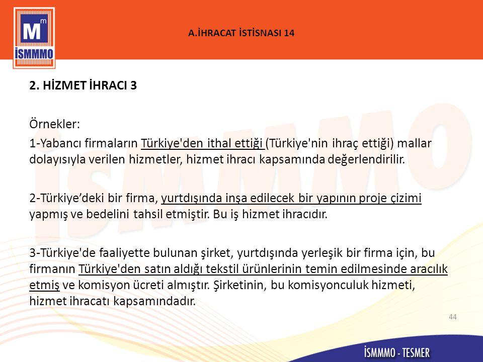 A.İHRACAT İSTİSNASI 14 2.