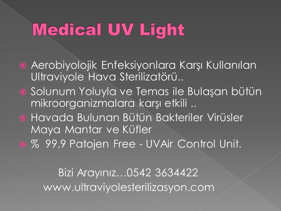  Aerobiyolojik Enfeksiyonlara Karşı Kullanılan Ultraviyole Hava Sterilizatörü..