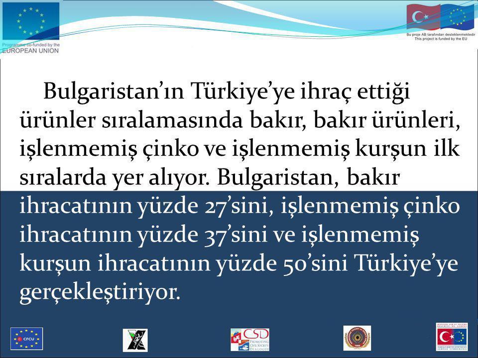 Bulgaristan'ın Türkiye'ye ihraç ettiği ürünler sıralamasında bakır, bakır ürünleri, işlenmemiş çinko ve işlenmemiş kurşun ilk sıralarda yer alıyor. Bu
