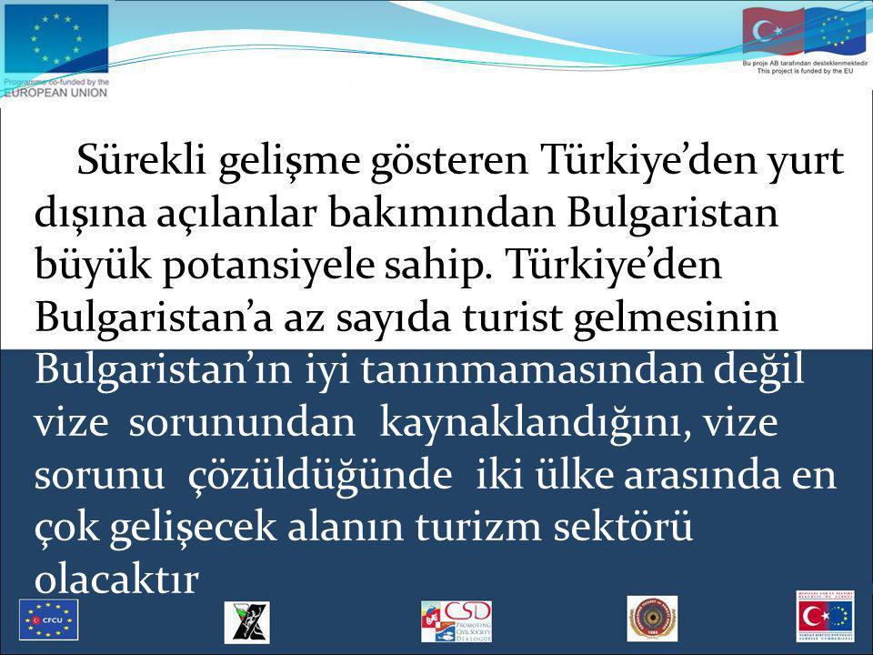 Sürekli gelişme gösteren Türkiye'den yurt dışına açılanlar bakımından Bulgaristan büyük potansiyele sahip. Türkiye'den Bulgaristan'a az sayıda turist