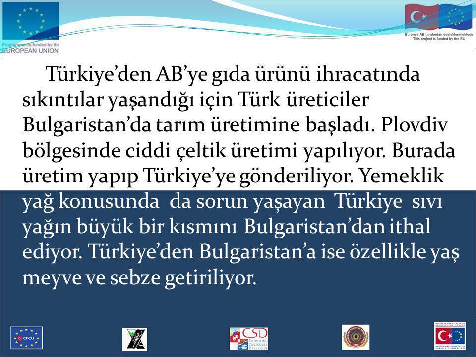 Türkiye'den AB'ye gıda ürünü ihracatında sıkıntılar yaşandığı için Türk üreticiler Bulgaristan'da tarım üretimine başladı. Plovdiv bölgesinde ciddi çe