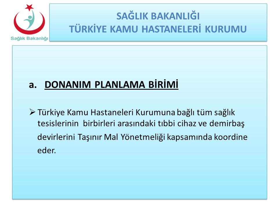 SAĞLIK BAKANLIĞI TÜRKİYE KAMU HASTANELERİ KURUMU a.DONANIM PLANLAMA BİRİMİ  Türkiye Kamu Hastaneleri Kurumuna bağlı tüm sağlık tesislerinin birbirler