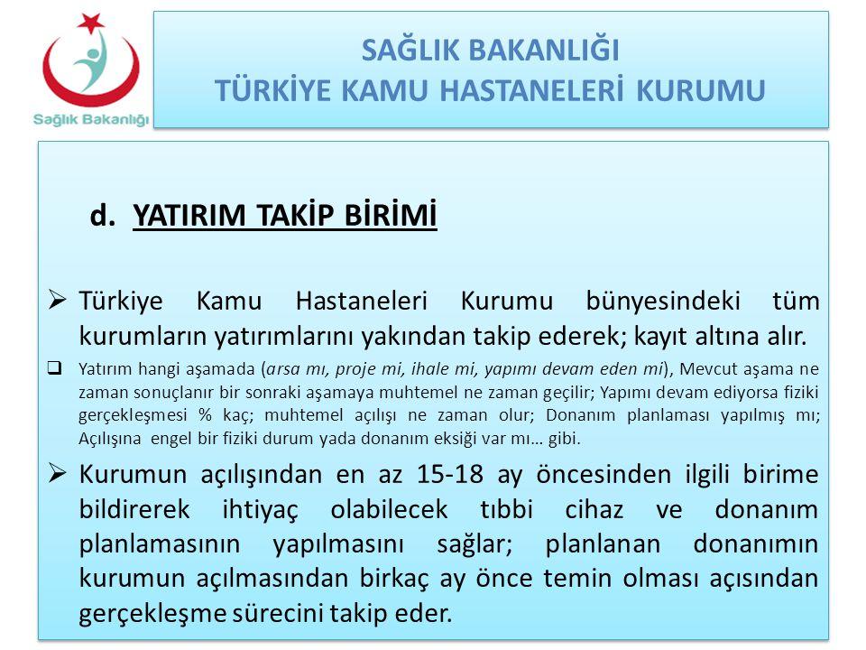 SAĞLIK BAKANLIĞI TÜRKİYE KAMU HASTANELERİ KURUMU d.YATIRIM TAKİP BİRİMİ  Türkiye Kamu Hastaneleri Kurumu bünyesindeki tüm kurumların yatırımlarını ya