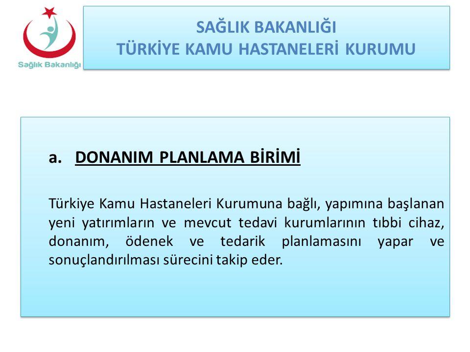 SAĞLIK BAKANLIĞI TÜRKİYE KAMU HASTANELERİ KURUMU a.DONANIM PLANLAMA BİRİMİ Türkiye Kamu Hastaneleri Kurumuna bağlı, yapımına başlanan yeni yatırımları