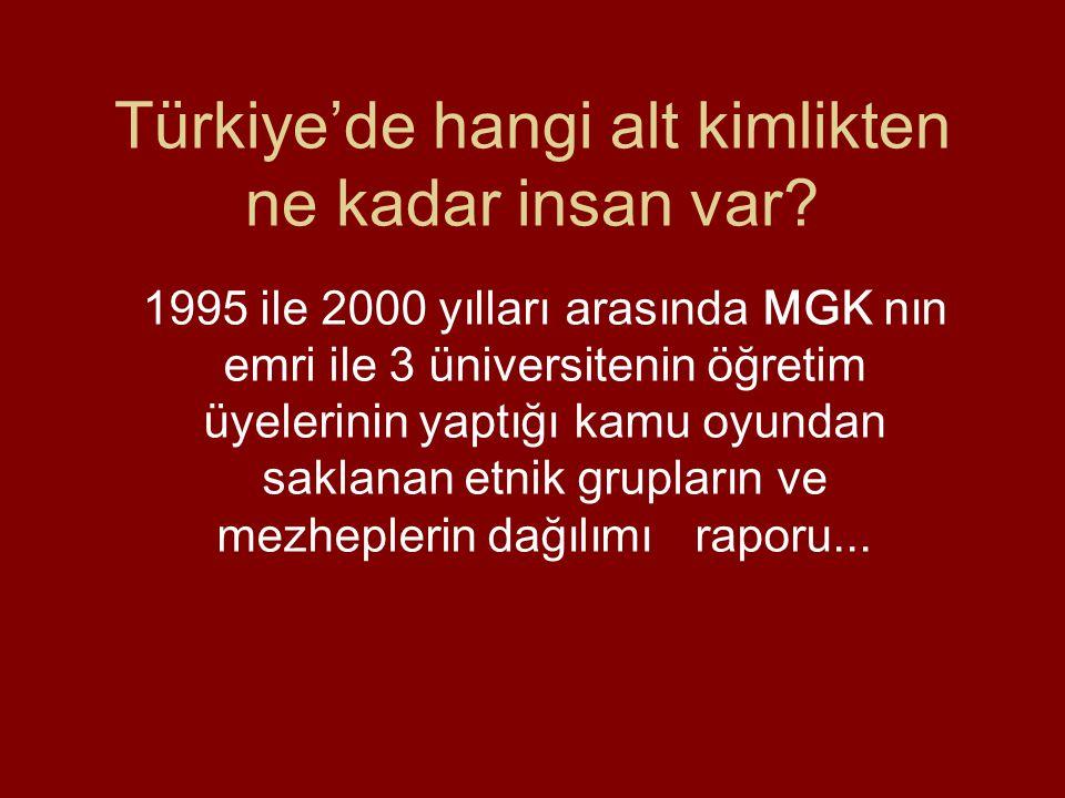 Türkiye'de hangi alt kimlikten ne kadar insan var.