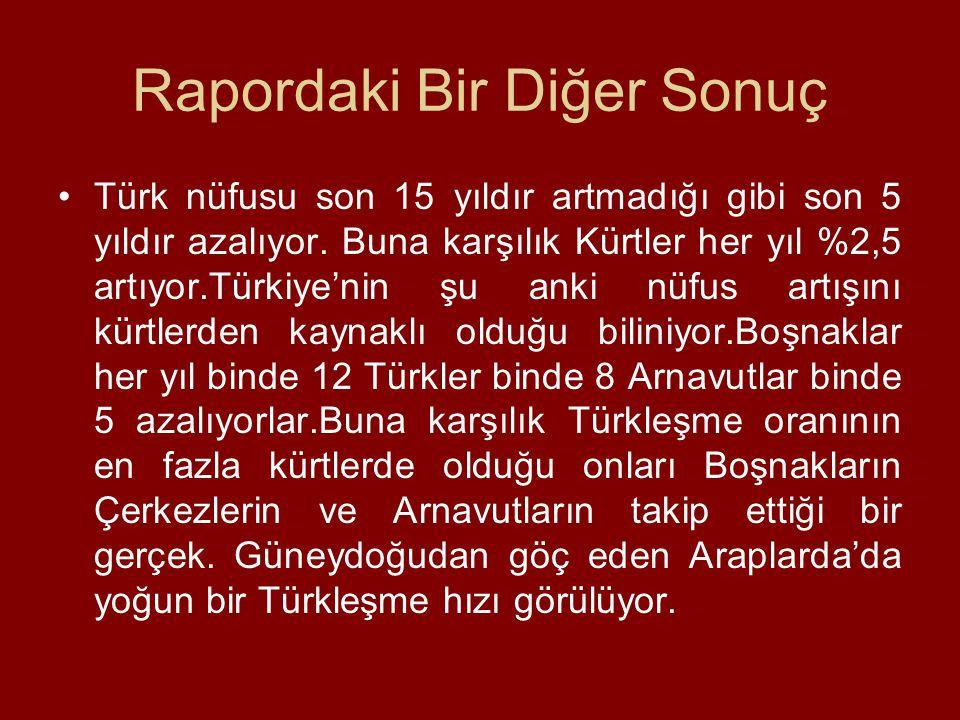 Rapordaki Bir Diğer Sonuç •Türk nüfusu son 15 yıldır artmadığı gibi son 5 yıldır azalıyor.