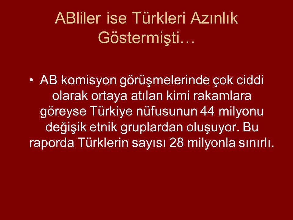ABliler ise Türkleri Azınlık Göstermişti… •AB komisyon görüşmelerinde çok ciddi olarak ortaya atılan kimi rakamlara göreyse Türkiye nüfusunun 44 milyonu değişik etnik gruplardan oluşuyor.