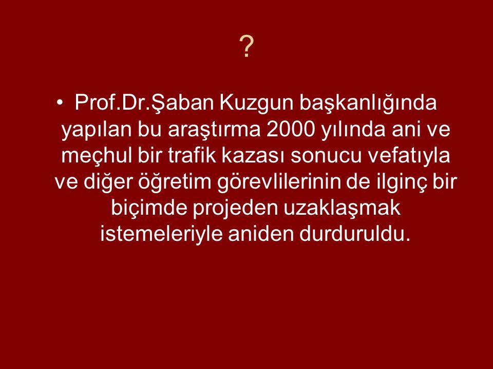 ? •Prof.Dr.Şaban Kuzgun başkanlığında yapılan bu araştırma 2000 yılında ani ve meçhul bir trafik kazası sonucu vefatıyla ve diğer öğretim görevlilerinin de ilginç bir biçimde projeden uzaklaşmak istemeleriyle aniden durduruldu.