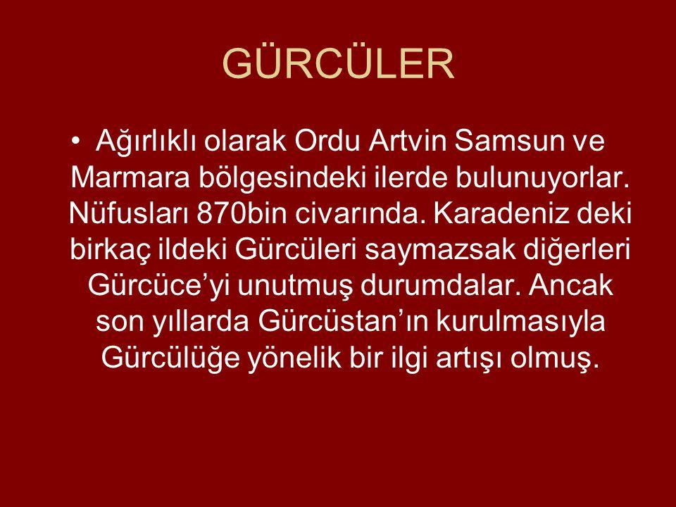 GÜRCÜLER •Ağırlıklı olarak Ordu Artvin Samsun ve Marmara bölgesindeki ilerde bulunuyorlar.