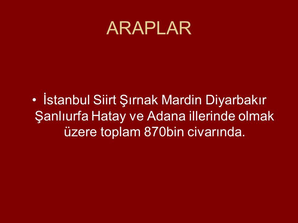 ARAPLAR •İstanbul Siirt Şırnak Mardin Diyarbakır Şanlıurfa Hatay ve Adana illerinde olmak üzere toplam 870bin civarında.