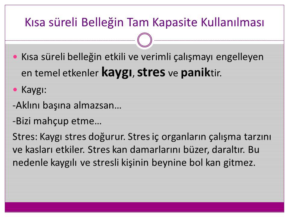 Kısa süreli Belleğin Tam Kapasite Kullanılması  Kısa süreli belleğin etkili ve verimli çalışmayı engelleyen en temel etkenler kaygı, stres ve panik t