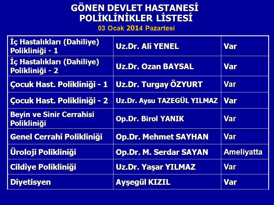 POLİKLİNİKLER LİSTESİ GÖNEN DEVLET HASTANESİ İç Hastalıkları (Dahiliye) Polikliniği - 1 Uz.Dr.