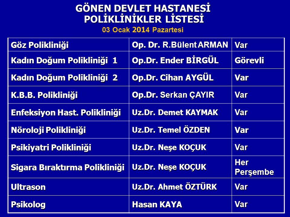 POLİKLİNİKLER LİSTESİ GÖNEN DEVLET HASTANESİ Göz Polikliniği Op.