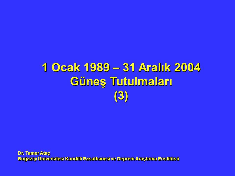 1 Ocak 1989 – 31 Aralık 2004 Güneş Tutulmaları (3) Dr. Tamer Ataç Boğaziçi Üniversitesi Kandilli Rasathanesi ve Deprem Araştırma Enstitüsü