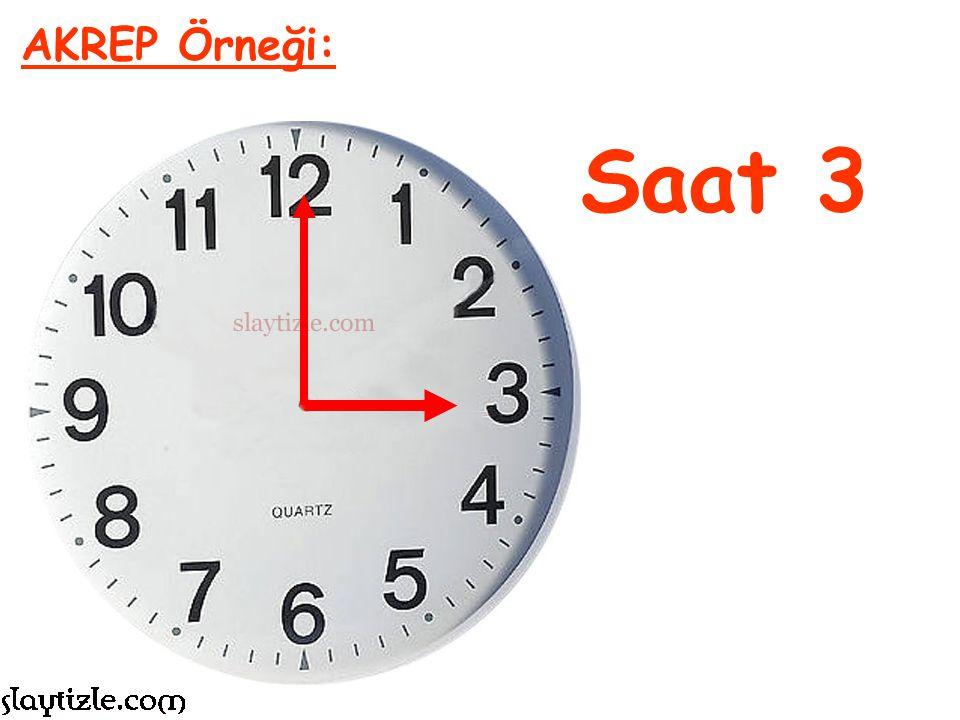 Şu anda akrep (kısa) 10 rakamını gösteriyor. Akrep saati gösteriyordu, o halde saat şu anda 10 denir. AKREP Örneği: