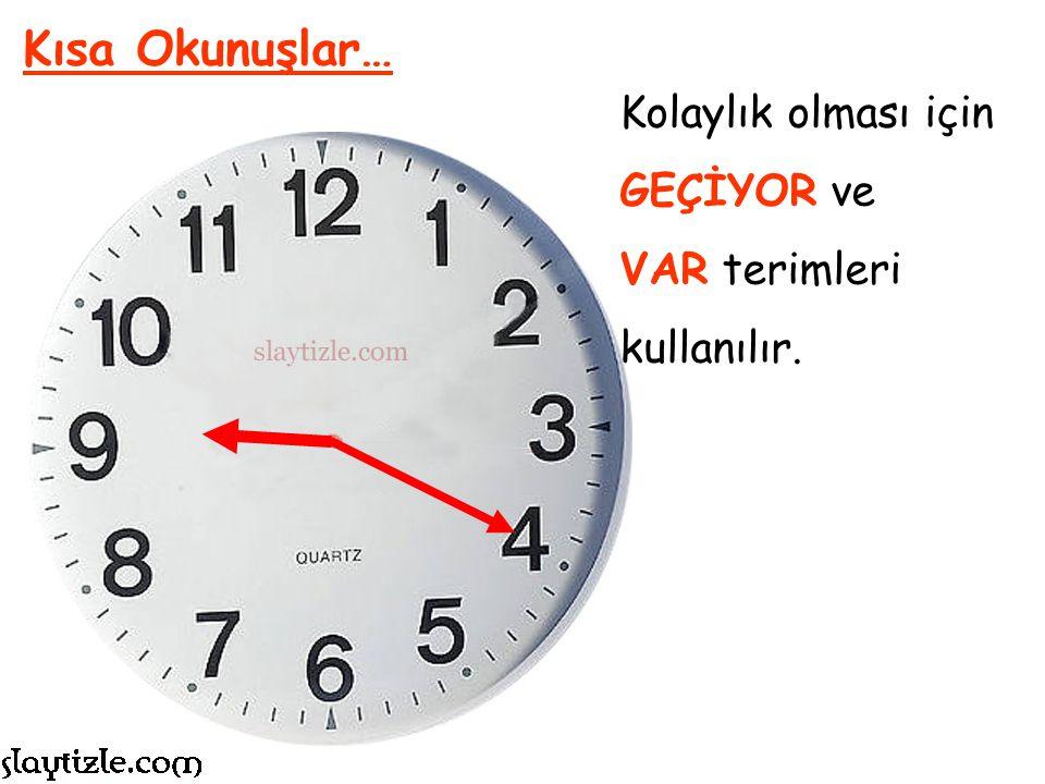 Saatler halk arasında tam rakamları ile okunmazlar. Kısa Okunuşlar… Şu anda saat 9:20 ise Saat Dokuz Yirmi olarak söylenmez.