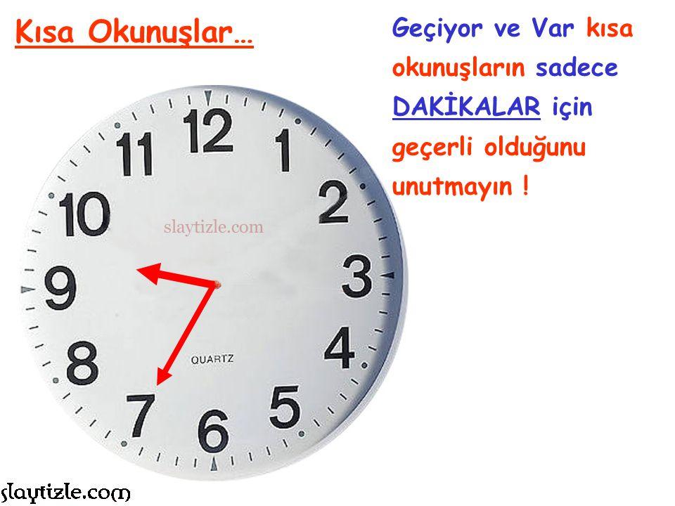 GEÇİYOR geride kalan dakikalar için. VAR henüz yaşanmamış dakikalar için ifade edilir. Kısa Okunuşlar…