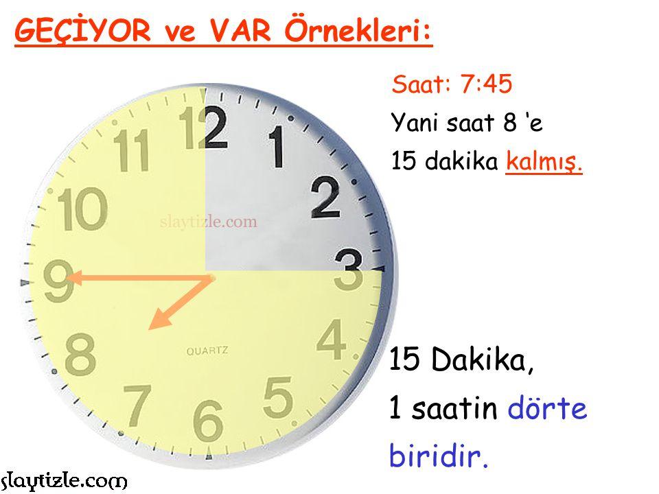 Saat: 4:40 Yani saat 5 'e 20 dakika kalmış. GEÇİYOR ve VAR Örnekleri: Saat 5'e 20 Var Denir.