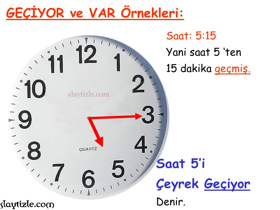 Saat: 14:45 Yani saat 3 'e 15 dakika kalmış. GEÇİYOR ve VAR Örnekleri: Saat 3'e Çeyrek Var Denir.