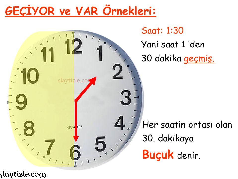 Saat: 11:15 Yani saat 11 'den 15 dakika geçmiş. GEÇİYOR ve VAR Örnekleri: Saat 11'i Çeyrek Geçiyor Denir.