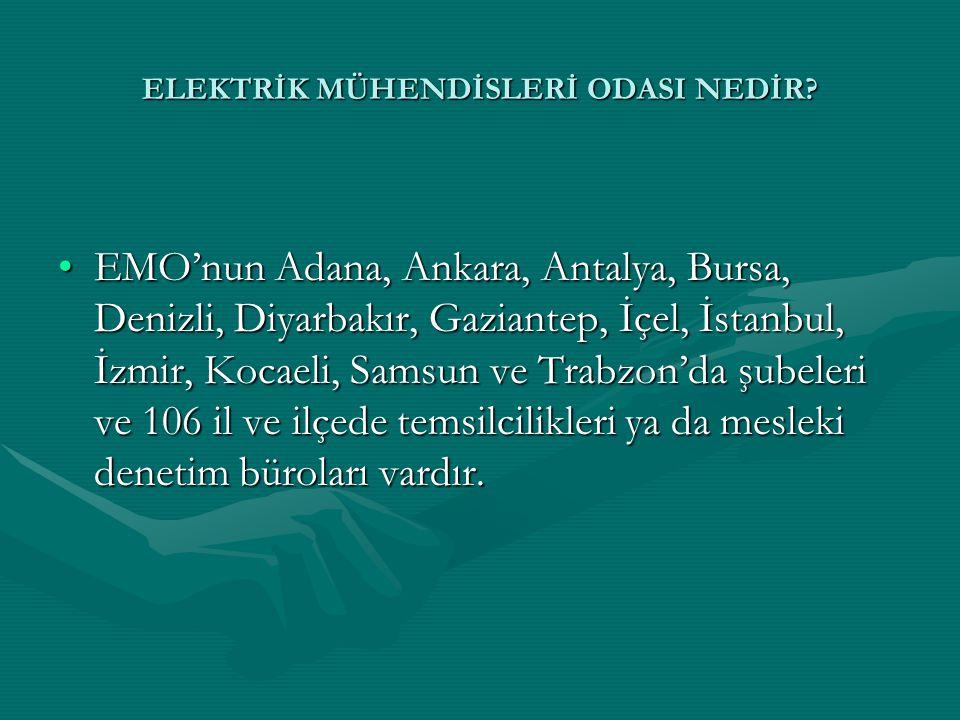 ELEKTRİK MÜHENDİSLERİ ODASI NEDİR? •EMO'nun Adana, Ankara, Antalya, Bursa, Denizli, Diyarbakır, Gaziantep, İçel, İstanbul, İzmir, Kocaeli, Samsun ve T