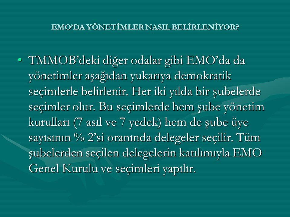 •TMMOB'deki diğer odalar gibi EMO'da da yönetimler aşağıdan yukarıya demokratik seçimlerle belirlenir. Her iki yılda bir şubelerde seçimler olur. Bu s