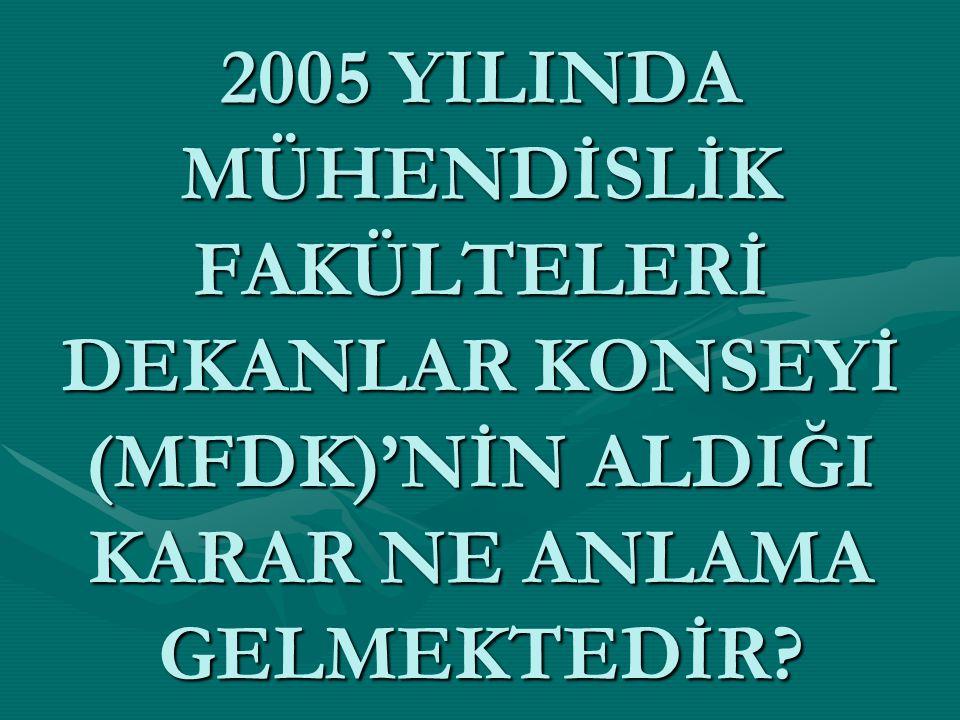 2005 YILINDA MÜHENDİSLİK FAKÜLTELERİ DEKANLAR KONSEYİ (MFDK)'NİN ALDIĞI KARAR NE ANLAMA GELMEKTEDİR?