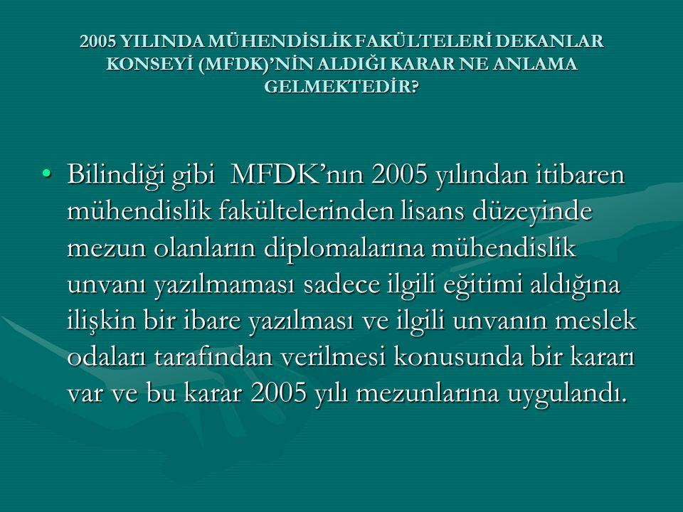 •Bilindiği gibi MFDK'nın 2005 yılından itibaren mühendislik fakültelerinden lisans düzeyinde mezun olanların diplomalarına mühendislik unvanı yazılmam