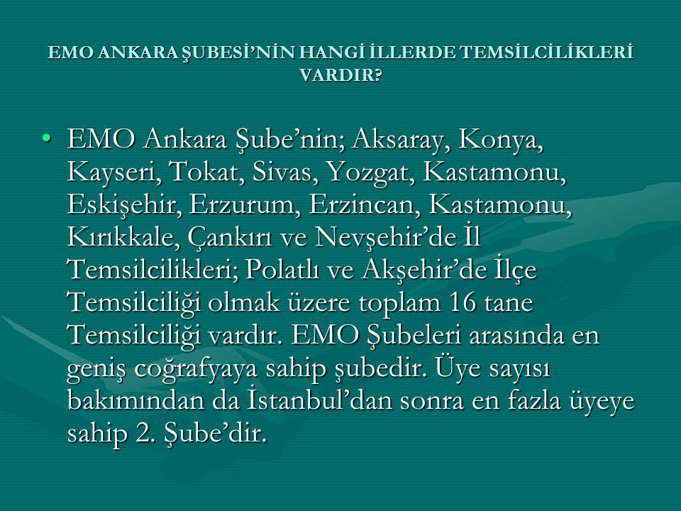 •EMO Ankara Şube'nin; Aksaray, Konya, Kayseri, Tokat, Sivas, Yozgat, Kastamonu, Eskişehir, Erzurum, Erzincan, Kastamonu, Kırıkkale, Çankırı ve Nevşehi