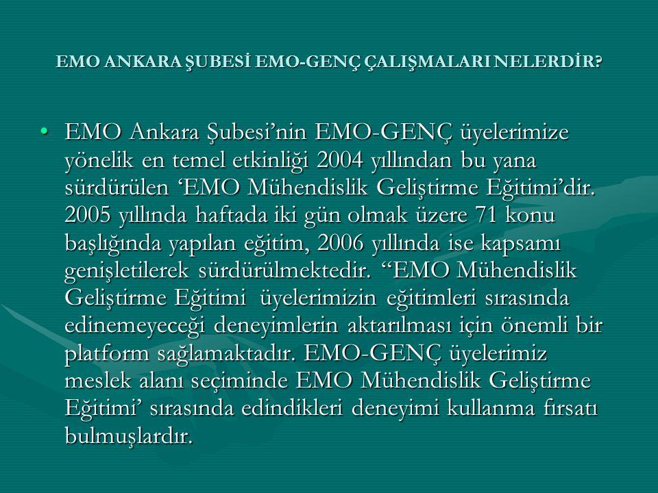 EMO ANKARA ŞUBESİ EMO-GENÇ ÇALIŞMALARI NELERDİR? •EMO Ankara Şubesi'nin EMO-GENÇ üyelerimize yönelik en temel etkinliği 2004 yıllından bu yana sürdürü