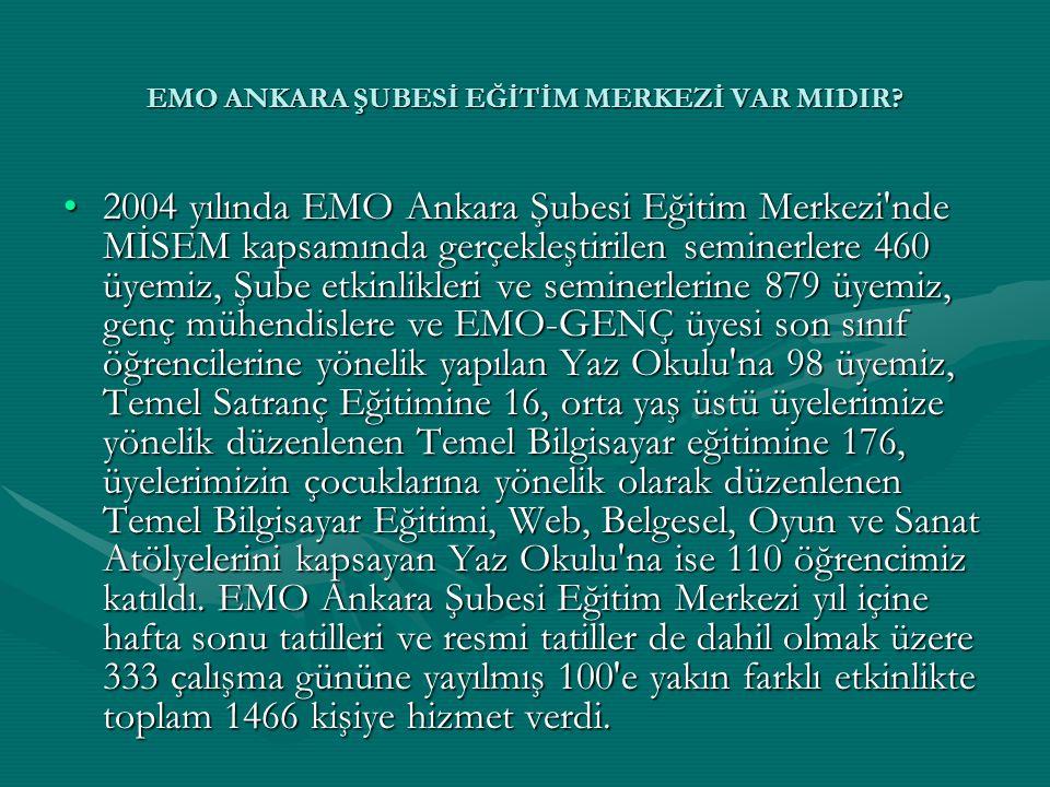 EMO ANKARA ŞUBESİ EĞİTİM MERKEZİ VAR MIDIR? •2004 yılında EMO Ankara Şubesi Eğitim Merkezi'nde MİSEM kapsamında gerçekleştirilen seminerlere 460 üyemi