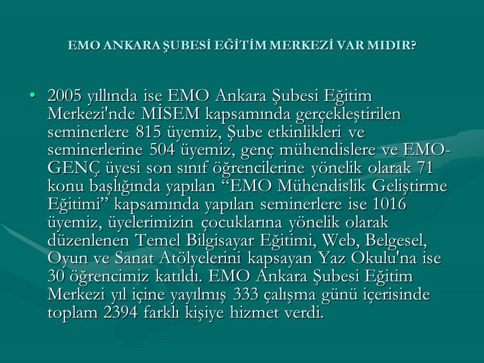 EMO ANKARA ŞUBESİ EĞİTİM MERKEZİ VAR MIDIR? •2005 yıllında ise EMO Ankara Şubesi Eğitim Merkezi'nde MİSEM kapsamında gerçekleştirilen seminerlere 815