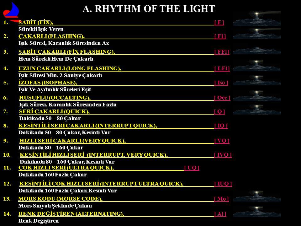 A. RHYTHM OF THE LIGHT 9. HIZLI SERİ ÇAKARLI (VERY QUICK), [ VQ ] Dakikada 80 – 160 Çakar 11. ÇOK HIZLI SERİ (ULTRA QUICK), [ UQ ] Dakikada 160 Fazla
