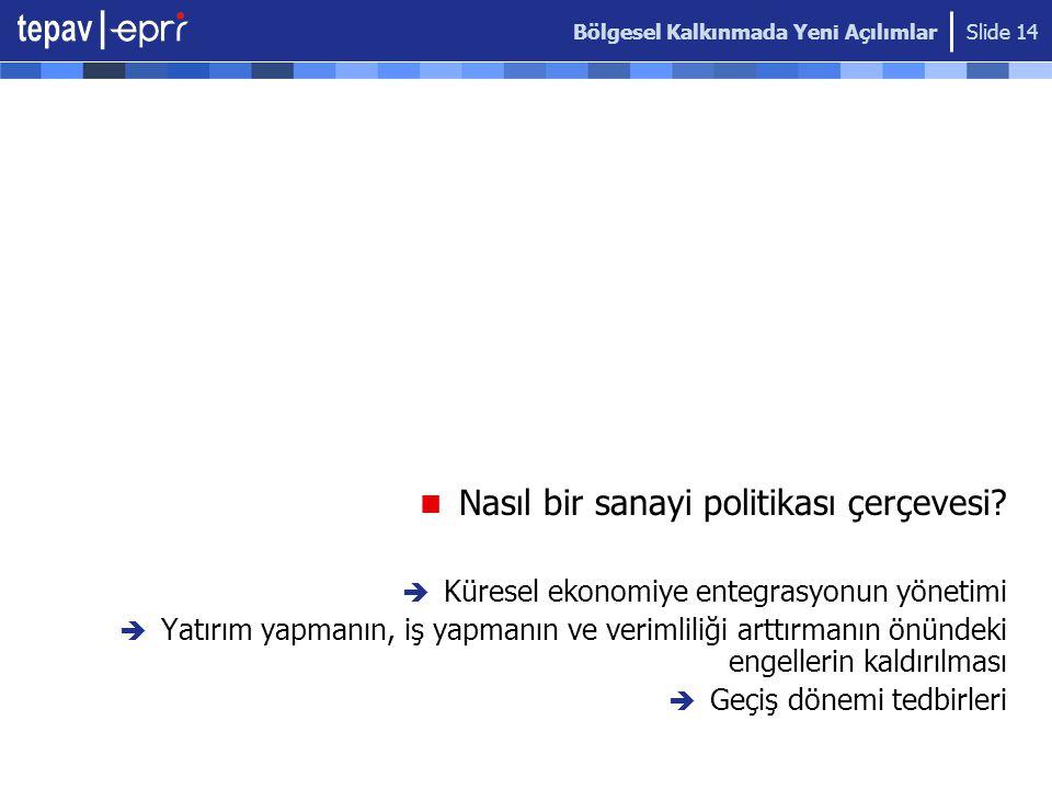 Bölgesel Kalkınmada Yeni Açılımlar Slide 14  Nasıl bir sanayi politikası çerçevesi?  Küresel ekonomiye entegrasyonun yönetimi  Yatırım yapmanın, iş