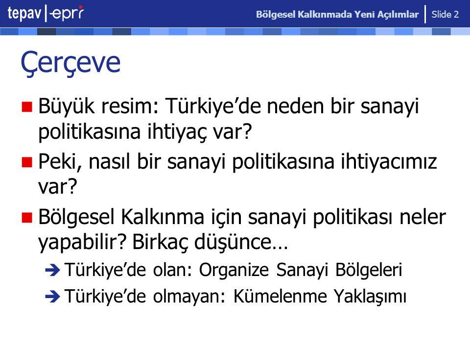 Bölgesel Kalkınmada Yeni Açılımlar Slide 2 Çerçeve  Büyük resim: Türkiye'de neden bir sanayi politikasına ihtiyaç var?  Peki, nasıl bir sanayi polit