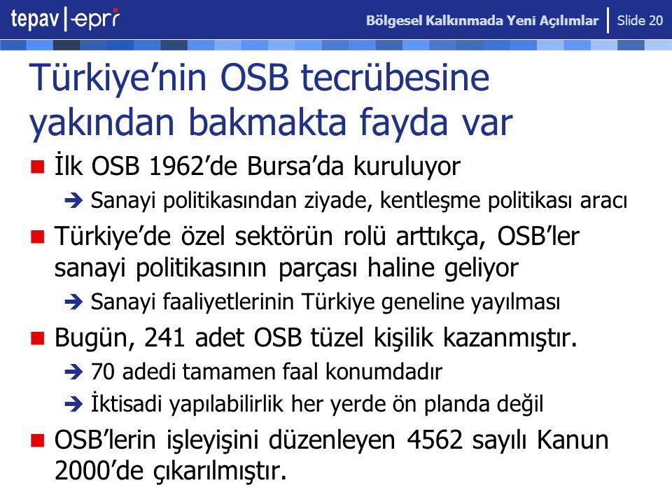 Bölgesel Kalkınmada Yeni Açılımlar Slide 20 Türkiye'nin OSB tecrübesine yakından bakmakta fayda var  İlk OSB 1962'de Bursa'da kuruluyor  Sanayi poli
