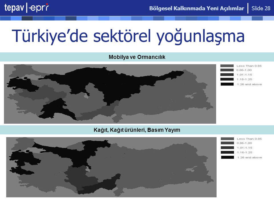 Bölgesel Kalkınmada Yeni Açılımlar Slide 28 Mobilya ve Ormancılık Kağıt, Kağıt ürünleri, Basım Yayım Türkiye'de sektörel yoğunlaşma