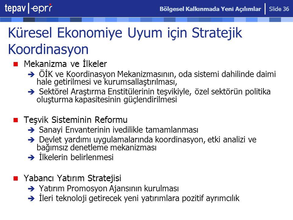 Bölgesel Kalkınmada Yeni Açılımlar Slide 36 Küresel Ekonomiye Uyum için Stratejik Koordinasyon  Mekanizma ve İlkeler  ÖİK ve Koordinasyon Mekanizmas