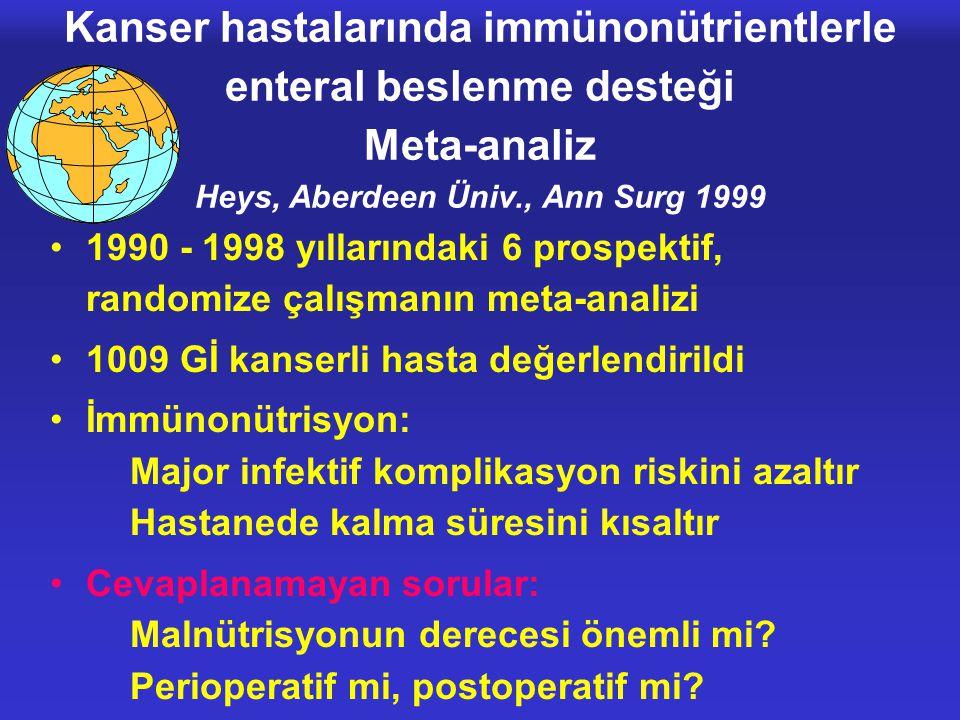 Kanser hastalarında immünonütrientlerle enteral beslenme desteği Meta-analiz Heys, Aberdeen Üniv., Ann Surg 1999 •1990 - 1998 yıllarındaki 6 prospekti