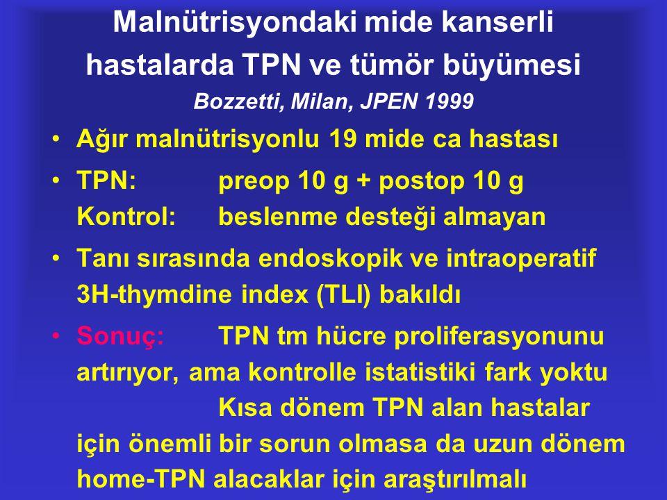 Malnütrisyondaki mide kanserli hastalarda TPN ve tümör büyümesi Bozzetti, Milan, JPEN 1999 •Ağır malnütrisyonlu 19 mide ca hastası •TPN:preop 10 g + p
