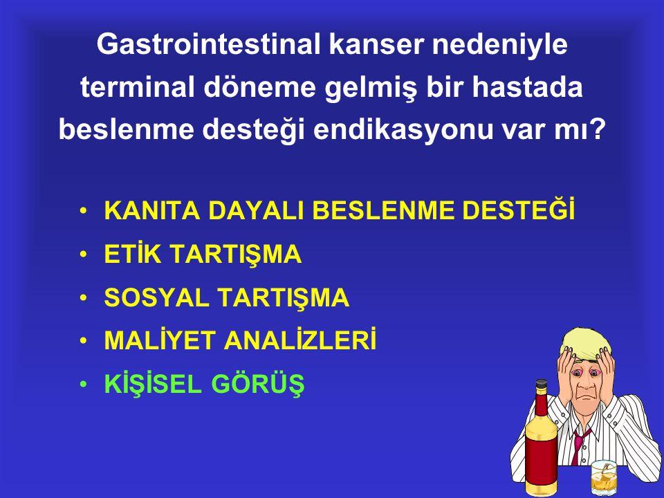 Gastrointestinal kanser nedeniyle terminal döneme gelmiş bir hastada beslenme desteği endikasyonu var mı? •KANITA DAYALI BESLENME DESTEĞİ •ETİK TARTIŞ