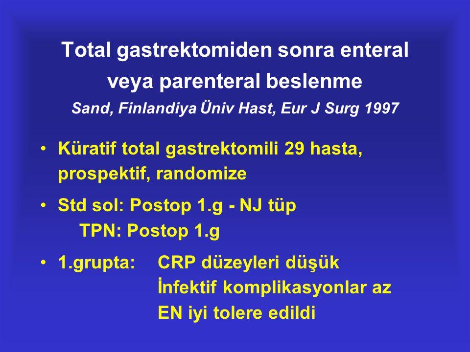 Total gastrektomiden sonra enteral veya parenteral beslenme Sand, Finlandiya Üniv Hast, Eur J Surg 1997 •Küratif total gastrektomili 29 hasta, prospek