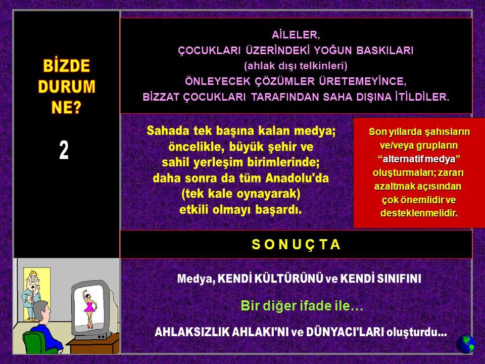 S O N U Ç T A Bir diğer ifade ile… AİLELER, ÇOCUKLARI ÜZERİNDEKİ YOĞUN BASKILARI (ahlak dışı telkinleri) ÖNLEYECEK ÇÖZÜMLER ÜRETEMEYİNCE, BİZZAT ÇOCUK