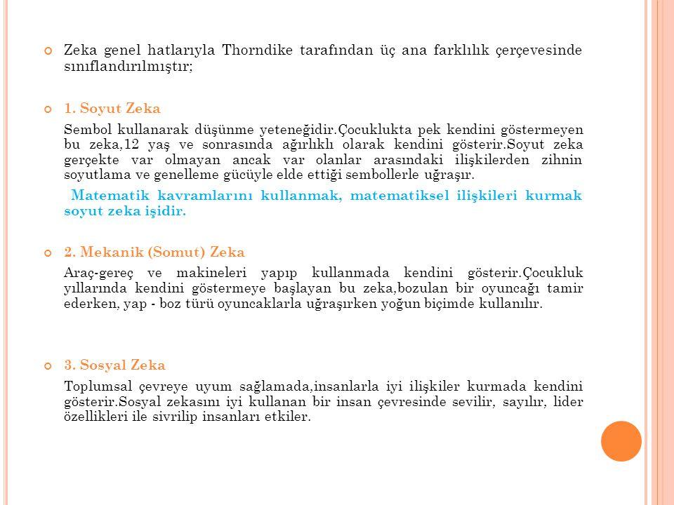 Zeka genel hatlarıyla Thorndike tarafından üç ana farklılık çerçevesinde sınıflandırılmıştır; 1. Soyut Zeka Sembol kullanarak düşünme yeteneğidir.Çocu