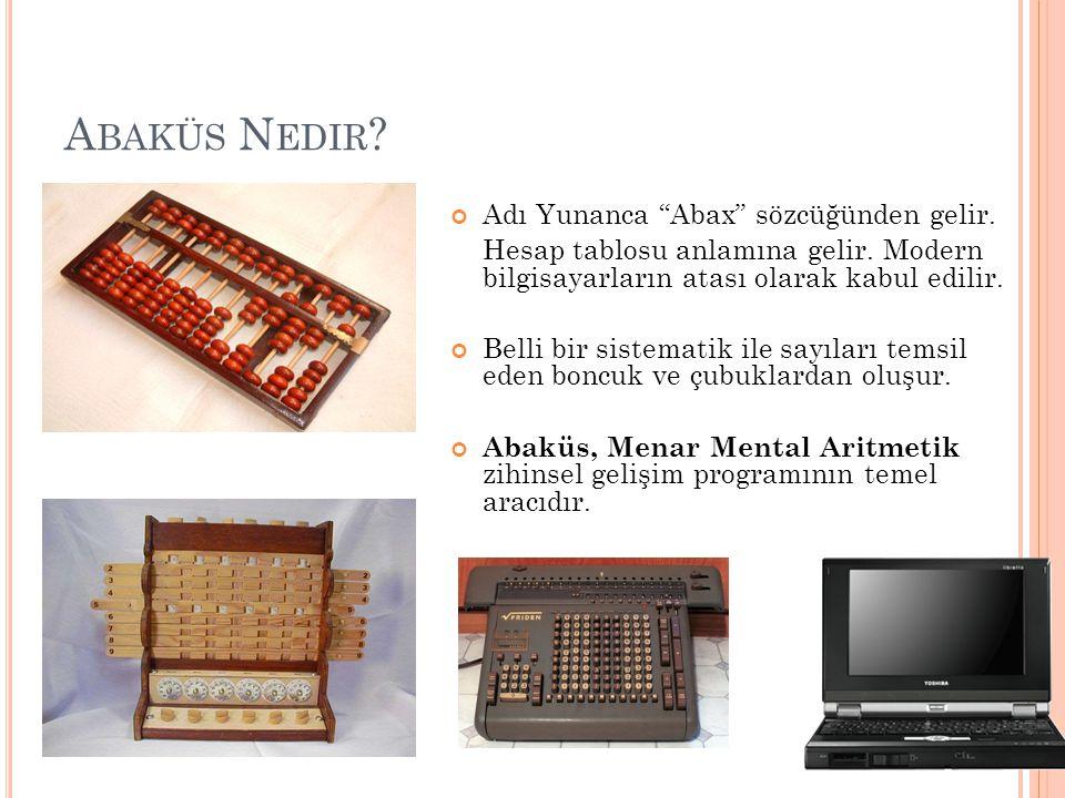 """A BAKÜS N EDIR ? Adı Yunanca """"Abax"""" sözcüğünden gelir. Hesap tablosu anlamına gelir. Modern bilgisayarların atası olarak kabul edilir. Belli bir siste"""